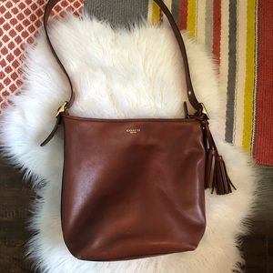 Coach brown leather with gold large hobo crossbody